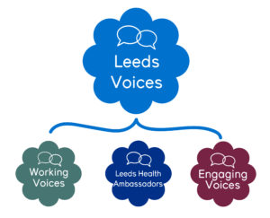 Leeds Voices logo, it is a chart to show the three components that are part of the Leeds Voices work; Working Voices, Leeds Health Ambassadors and Engaging Voices